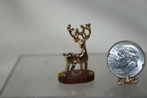 Miniature Dollhouse Brass Deer on Wood Base Figurine./Statue English Artist 1:12