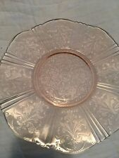 pink depression glass platter