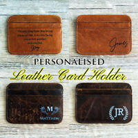 Personalised leather Card Holder Minimalist Wallet Front Pocket Wallet Men Gift
