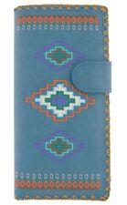 LAVISHY AZTEC SOUTH WESTERN LARGE WALLET VEGAN FAUX LEATHER NEW (97-176 Blue)