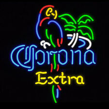 Corona Extra Parrot Bird Handcraft Real Glass Beer Bar Pub Decor Neon Signs19x15