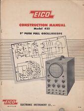 "1954 EICO Model 425 5"" Push Pull Oscilloscope Construction Manual ORIGINAL  /R12"
