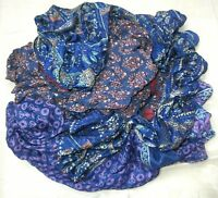 LOT ART SILK Antique Vintage Sari REMNANT Fabrics 100 GRAMS NAVY BLUE CRAFT S9