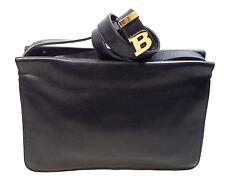 BALLY Black Leather Vintage Single Or Double Strap Shoulder Bag w/Gold Logo-EVC