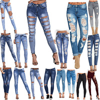 DIVADAMES Womens Ripped Skinny Jeans Faded Slim Fit Ladies Denim Size
