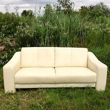Echtleder Couch Zweisitzer Sofa Beige cremeweiß Polster Möbel Lounge Vintage