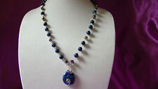 Necklace, Earrings Lapiz Lazuli Bead Set Wire Wrapped /w Tri color Crystal Beads