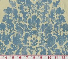 Waverly Paloma Sapphire Blue Beige Floral Woven Damask Upholstery Fabric BTY