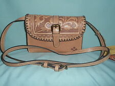 Patricia Nash Torri Sand Tooled Leather Convertible Cross Body / Clutch Bag NWT