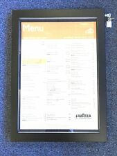 More details for high quality a2 matt black stainless steel menu display case with led lighting