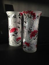 """ONE TALL TEA LIGHT CANDLE HOLDER red white FLOWERS  DECOR CYLINDER GLASS VASE 9"""""""