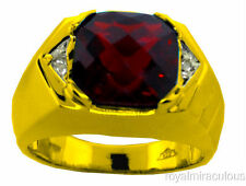 Mens Genuine Garnet & Diamond Ring 14K Yellow Gold