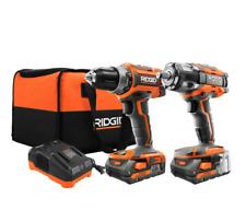RIDGID 18-Volt Brushless Drill Driver & Impact Wrench Kit 2.0 Ah Batt charger