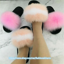 Women's Slides Real Fox Fur Slippers Beach Sandals Flip-Flops Sliders Shoes