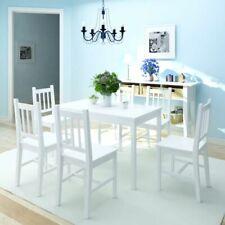 vidaXL Juego de Muebles de Salón Comedor Mesa y 6 Sillas Madera de Pino Blanco