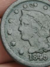 1845 Braided Hair Large Cent Penny- Crude Brothel Token