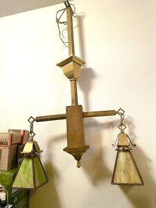 Antique Ceiling Light Fixture  Arts Crafts,  Mission Brass  Chandelier