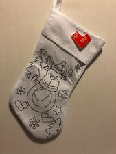 "Christmas Stocking Reindeer White To Color Or Paint 16 1/2"" Crafts"