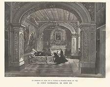 B7201 Papa Leone XIII celebra Prima Messa - Incisione antica 1888 - Engraving