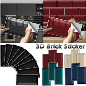 3D Self-Adhesive Kitchen Wall Tiles Bathroom Mosaic Brick Stickers Peel & Stick