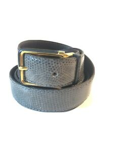 CHRISTIAN DIOR VINTAGE BELT GRAY LIZARD LEATHER SIZE 40 100 CM MADE IN SPAIN
