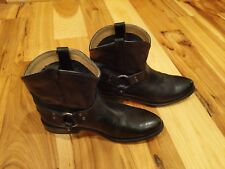 Frye Wyatt Harness Short Black Leather Ankle Boots Shoes Womens 10 B