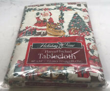 """Vtg Holiday Time Vinyl Flannel Backed Oblong Tablecloth 60"""" x 84"""" Santa Claus"""