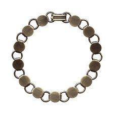 "10 Antique'd BRASS BRACELET Blank FORM ~13 Pads~Add Cabochons Beads~ Longer 8.2"""
