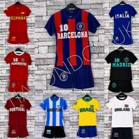 KIDS FOOTBALL JERSEY SOCCER SHORT SLEEVES TWO PIECE FOOTBALL SPORTS KIT 4-14 YRS