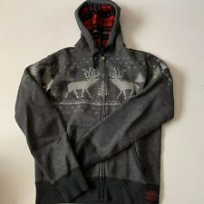 Ralph Lauren Polo Reindeer Zip Up Plaid Hoodie Size Small