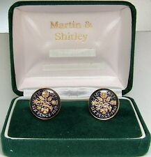 1961 6D cufflinks from real coins in Blue & Gold