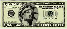 ONE MILLION DOLLAR BILL $1,000,000 NOVELTY GAG USD USA LADY LIBERTY 2001