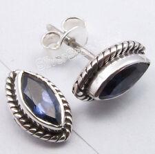 """925 Sterling Silver MARQUISE Blue IOLITE BESTSELLER Studs Post Earrings 0.4"""""""