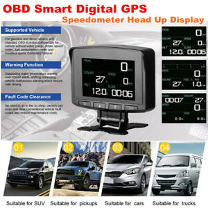 Car OBD Smart Digital GPS Speedometer Head Up Display Overspeed Alarm MPH / KM