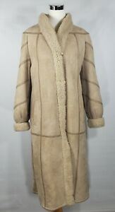 Samband of Iceland - 1990s Beige Long Lambskin Shearling Coat - Ladies Sz 42