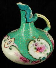 Antique Victorian Pre-Nippon HP Porcelain Nouveau Squat Pitcher Gold Moriage 6.5