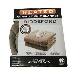 Biddeford Comfort Knit Fleece Heated Electric Blanket, Queen, (84Inx90In) Beige