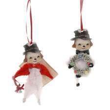 "Bethany Lowe 4"" Retro Chenille Snowman Christmas Ornaments Set of 2 LO8199"