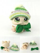 Authentic Littlest Pet Shop #1128 Kitty Kitten Beige Yellow Green Eyes Hat Bow