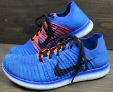Nike Free Flyknit RN Mens Blue Orange White Run Running Sneakers Shoes Size 8.5