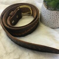 Womens Brown Leather Embossed Basketweave Boho Style Belt Size 32 Made In Mexico