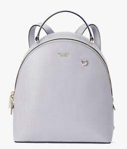 Kate Spade Sloane Medium Soft Saffiano Backpack Moon Glow Grey Lilac Tone