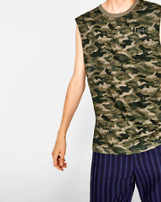 NWT Zara Man XL Camouflage Camo Muscle Tank Shirt Army Green Studded