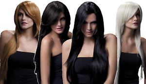 Ladies Professional Grade Natural Long Straight With Side Fringe Fancy Dress Wig