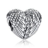 Angelic Feathers Charm  Angel Wing Heart 100% 925 Sterling Silver Pandora