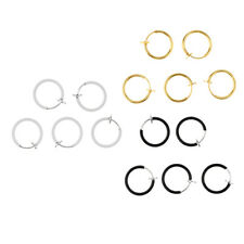 15Pcs Lot Fake Clip On Helix Septum Stud Nose Ring Hoop Eyebrow Lip Ear Cuff