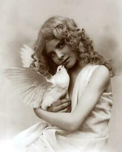 Young Girl Hold Dove Angelic c.1900s - Fitz W Guerin Reprint 8x10
