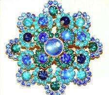 Flower Brooch Pin New in Box Macys Sapphire Blue Emerald Glass Stones Crystal