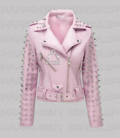 New Women's Baby Pink Brando Silver Spiked Studded Punk Cowhide Leather Jacket