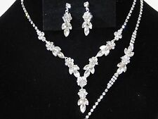 3PC Silver Clear Rhinestones Bridal Set Including Necklace, Earrings & Bracelet